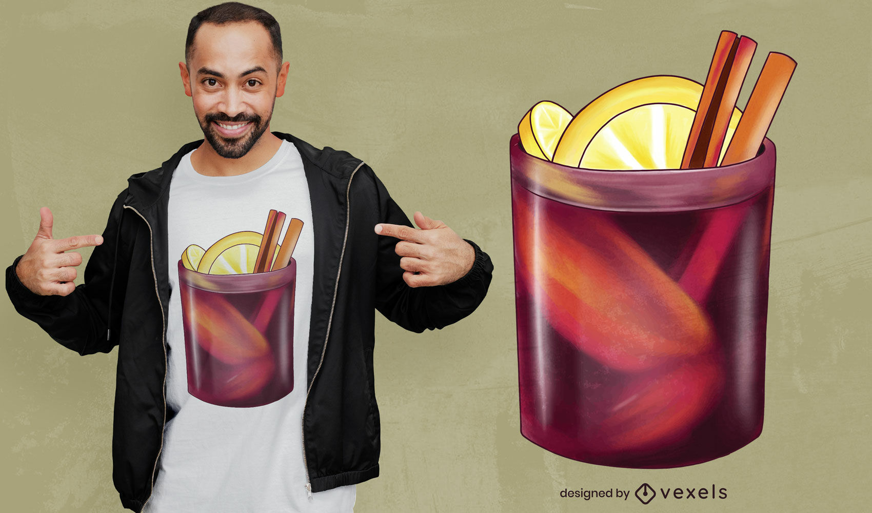Mulled wine glass t-shirt design