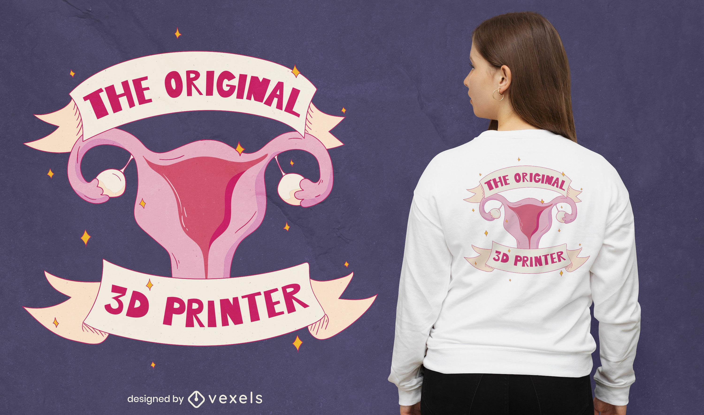 Design de camiseta com parte do corpo feminino do útero