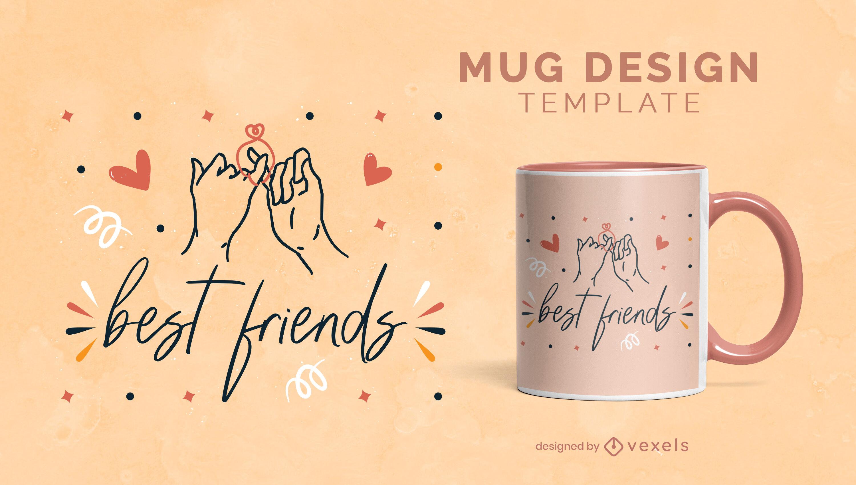 Manos de mejor amigo sosteniendo plantilla de taza