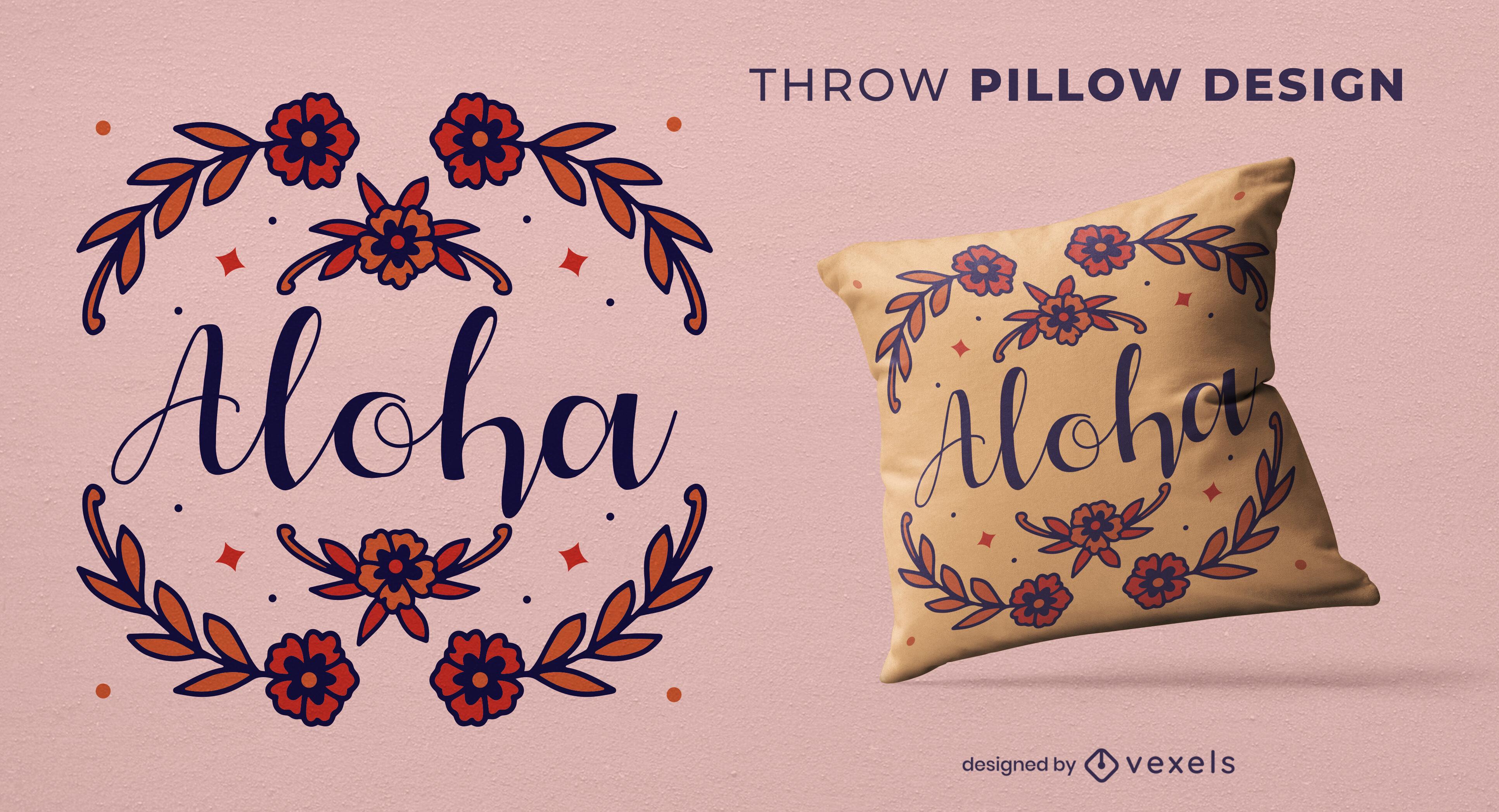 Dise?o de almohada floral con cita de aloha