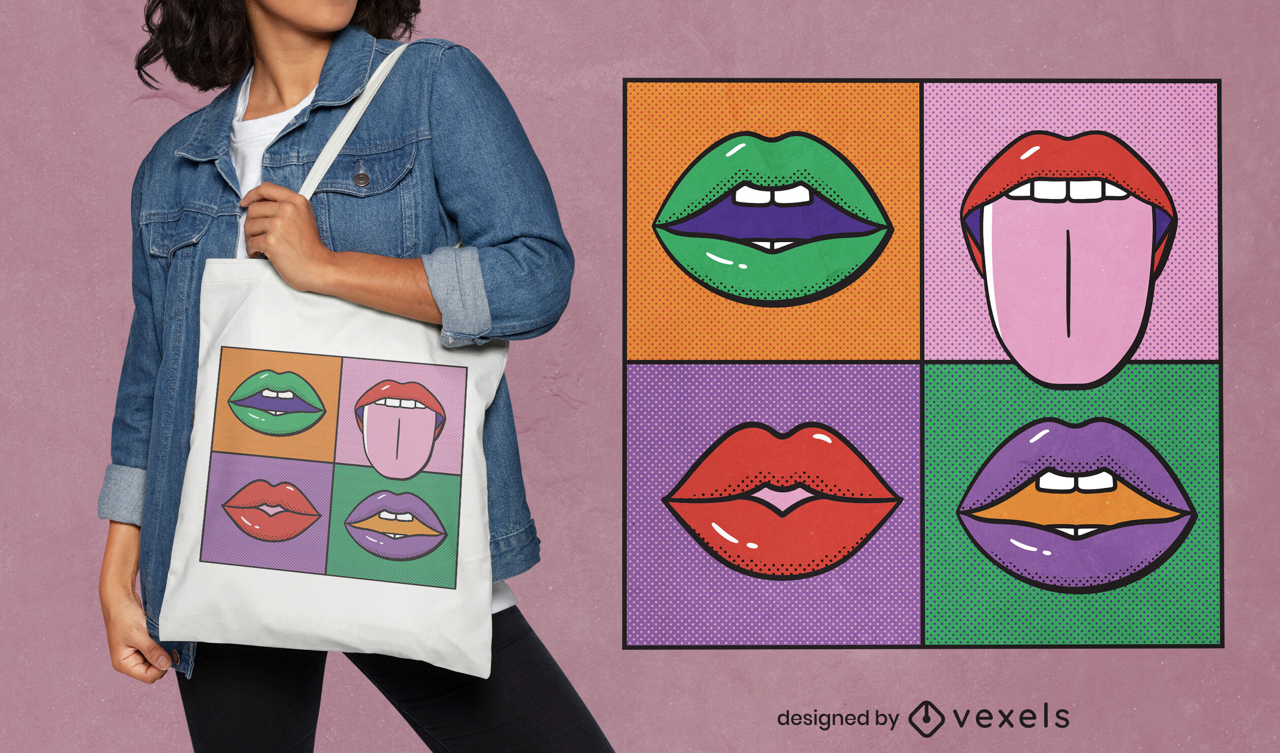 Bocas de pop art pintando design de sacola