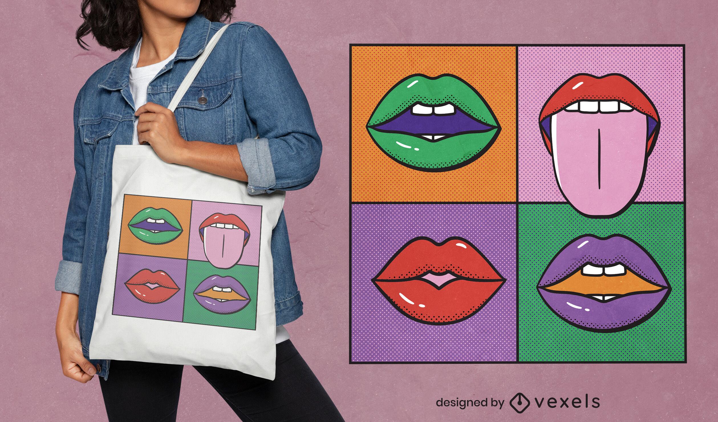 Dise?o de bolsa de asas de pintura de bocas de arte pop