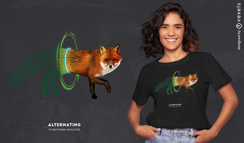 Camiseta de fox animal walk through portal psd