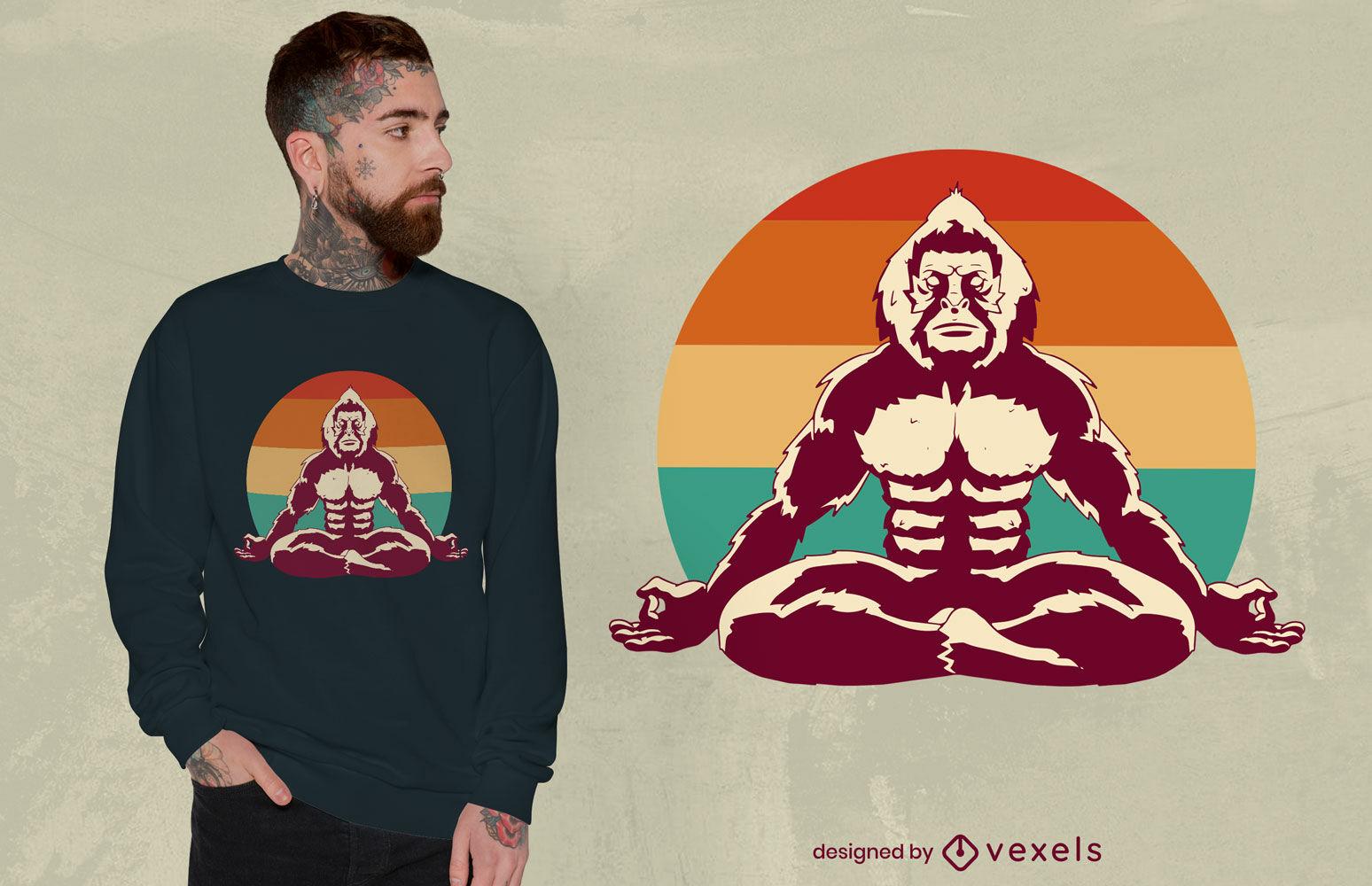Dise?o de camiseta de meditaci?n Bigfoot
