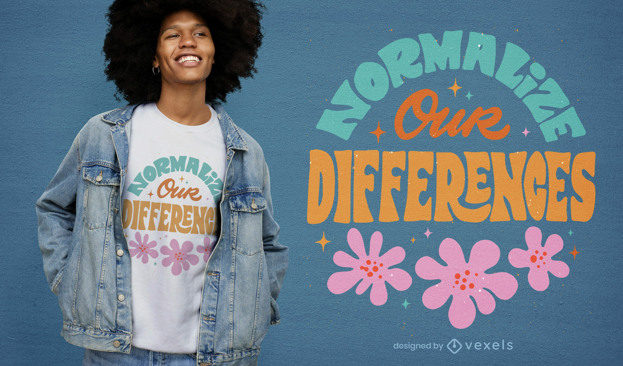 Design de t-shirt com citações florais de Neuro Diversity