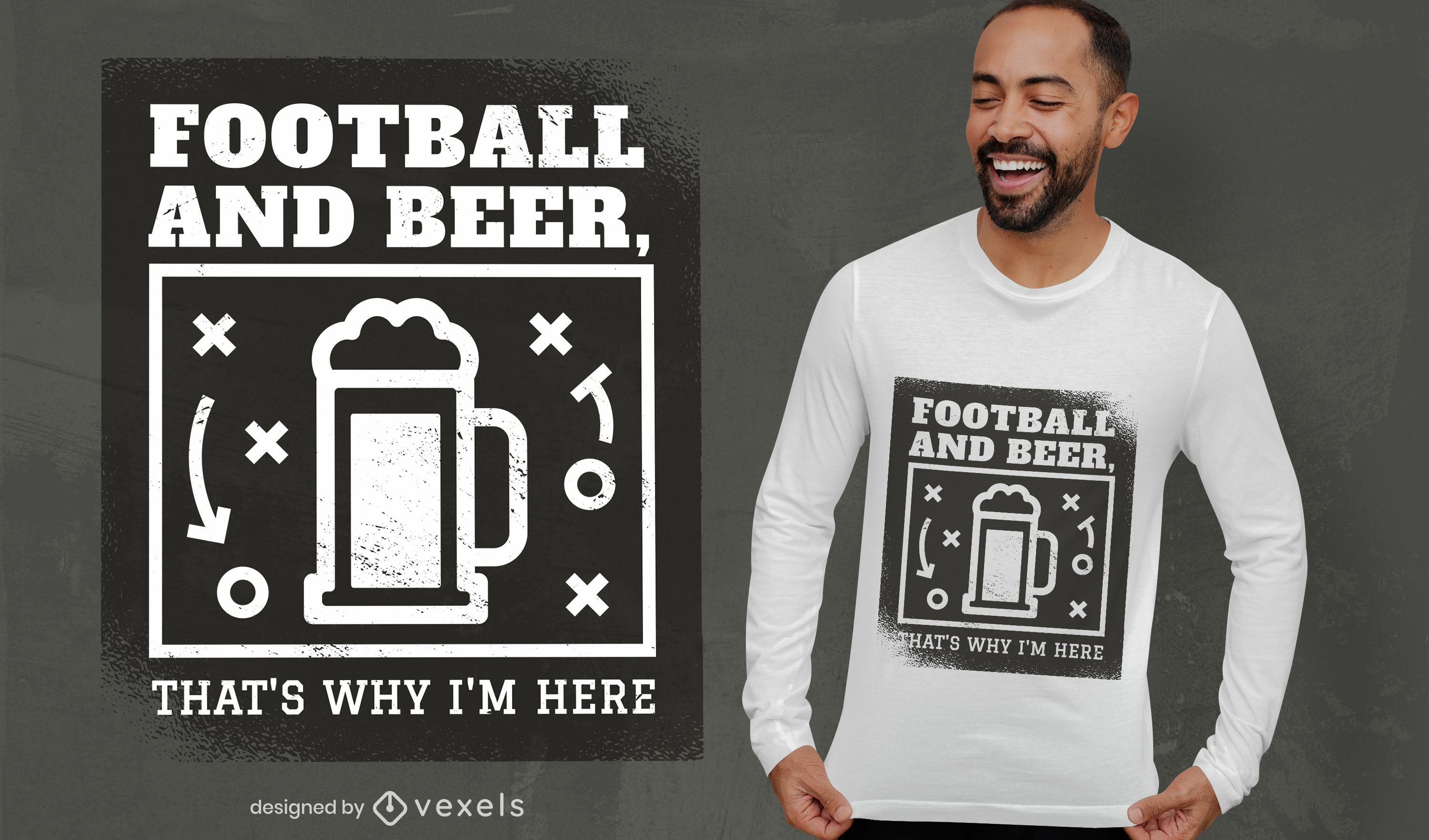 Football sport and beer drink t-shirt design