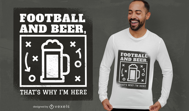 Fußballsport- und Biergetränk-T-Shirt-Design
