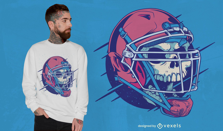 Totenkopf mit Fußballhelm-T-Shirt-Design