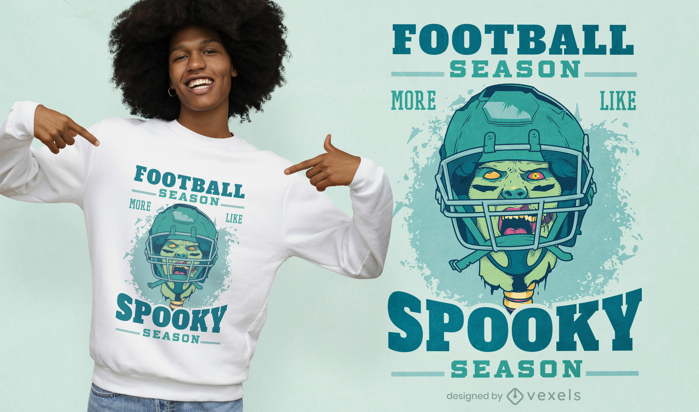 Dise?o de camiseta de jugador de f?tbol zombie.