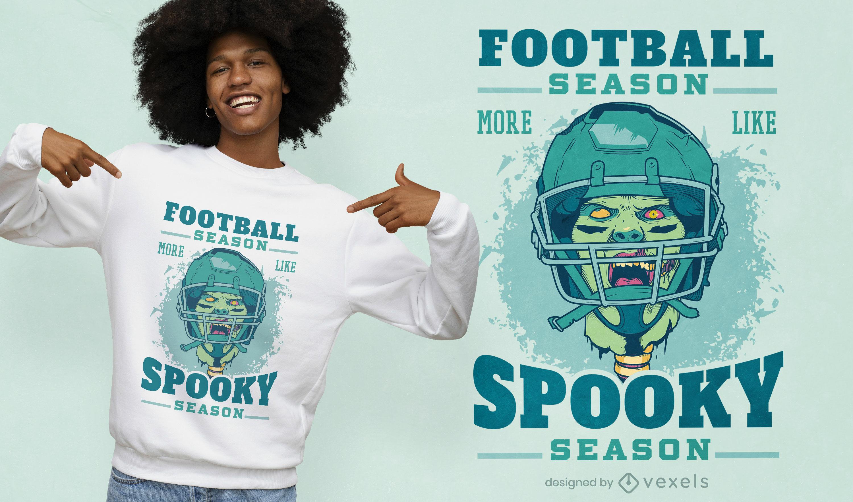 Football zombie player t-shirt design