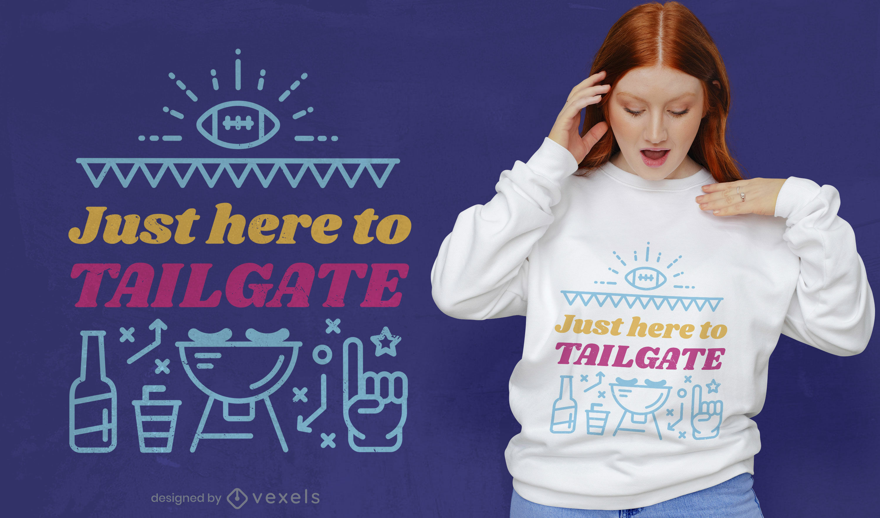 Football tailgate party t-shirt design