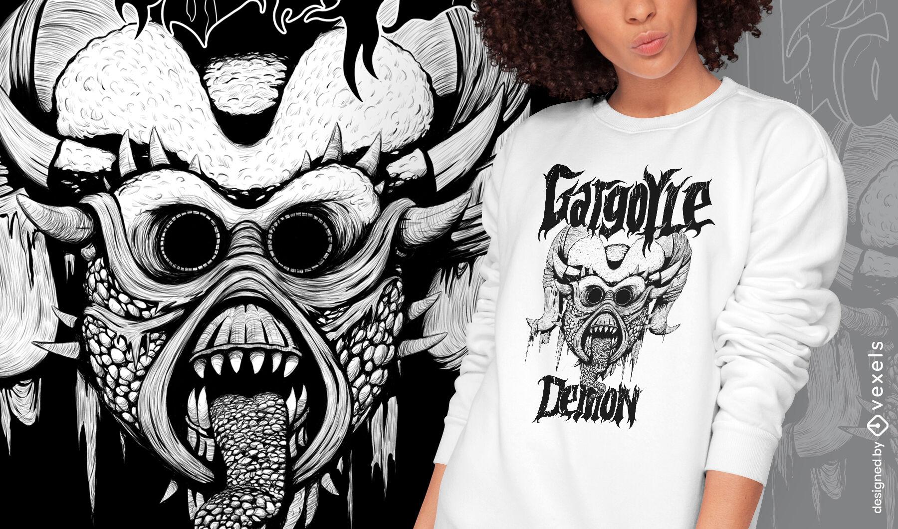 Camiseta dibujada a mano monstruo demonio g?rgola psd
