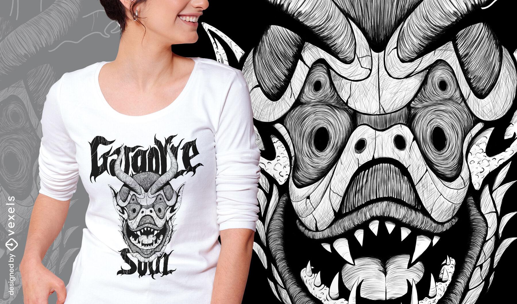 Camiseta dibujada a mano monstruo g?rgola psd