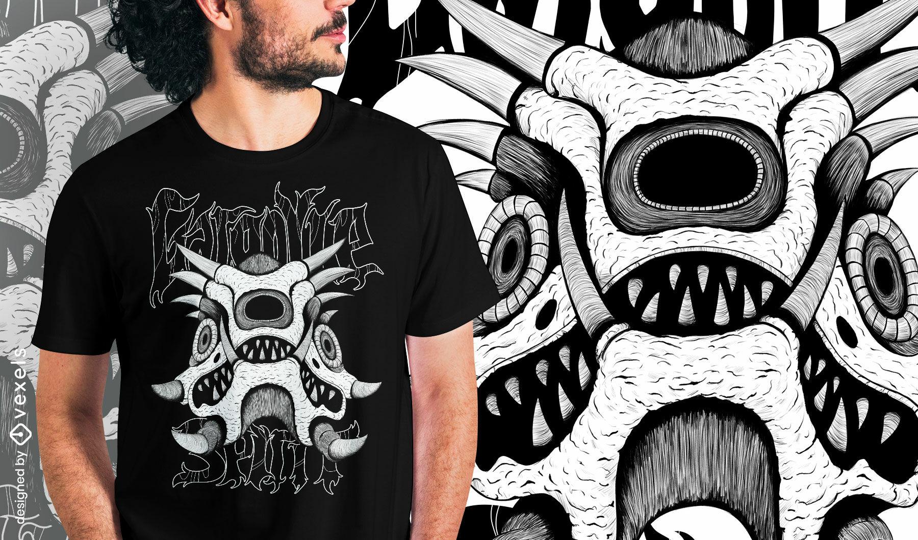 Camiseta dibujada a mano del esp?ritu del monstruo de la g?rgola psd
