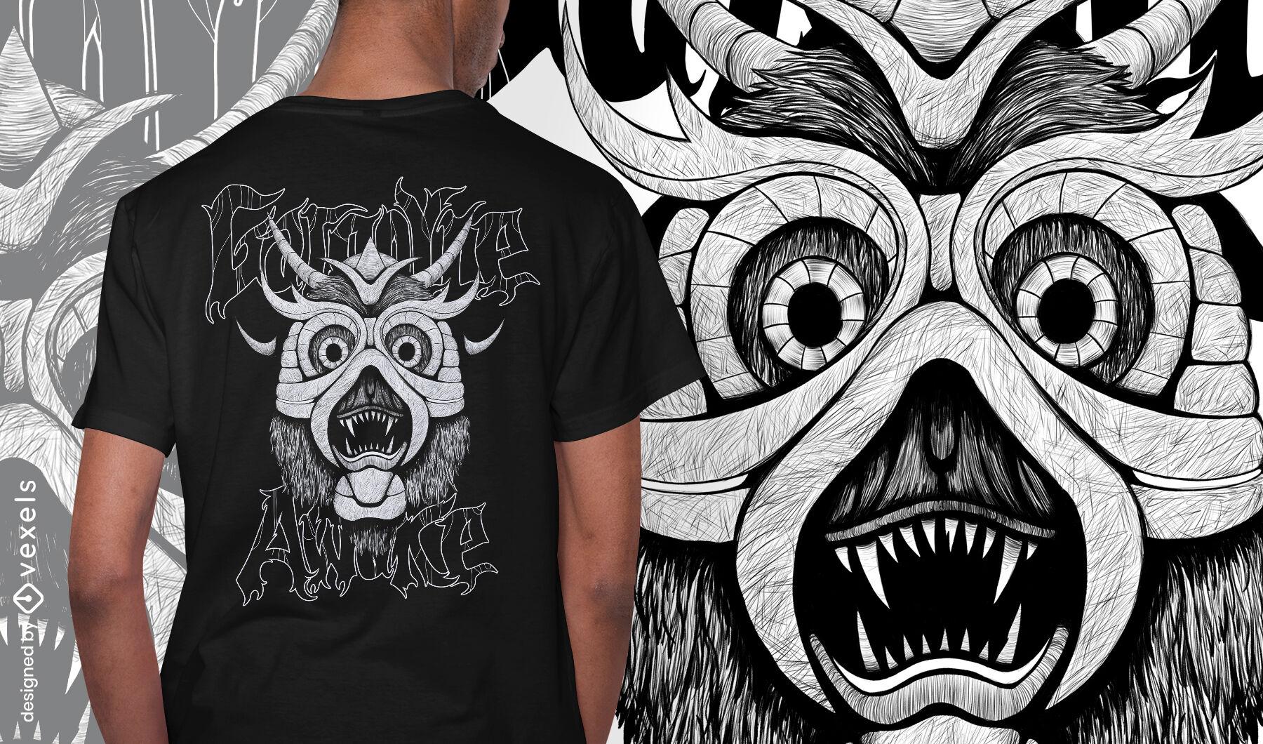 Ancient gargoyle monster hand drawn t-shirt psd