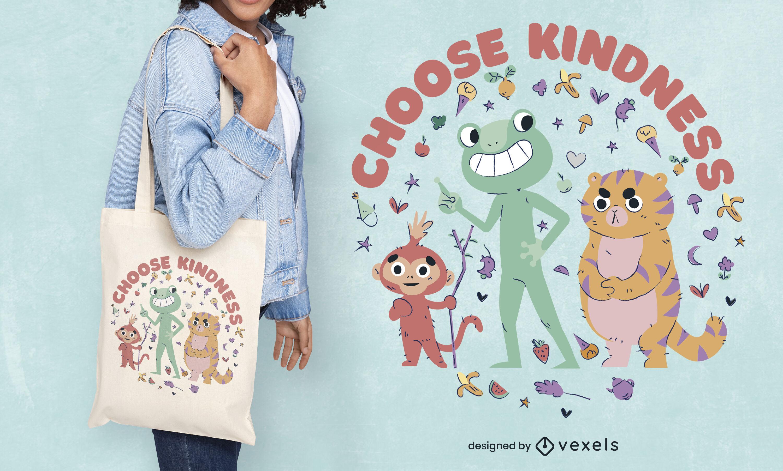 Cute animals friends tote bag design