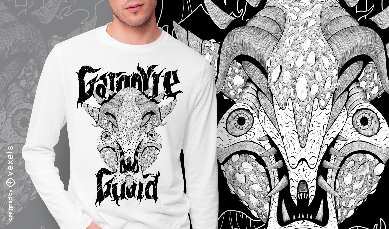 Gargoyle guard monster hand drawn t-shirt psd