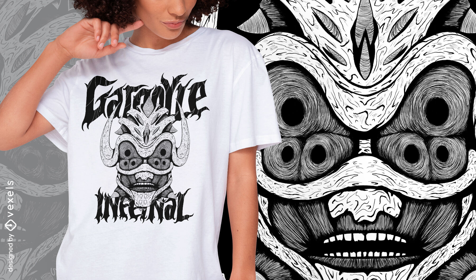 Camiseta dibujada a mano monstruo g?rgola diablo psd