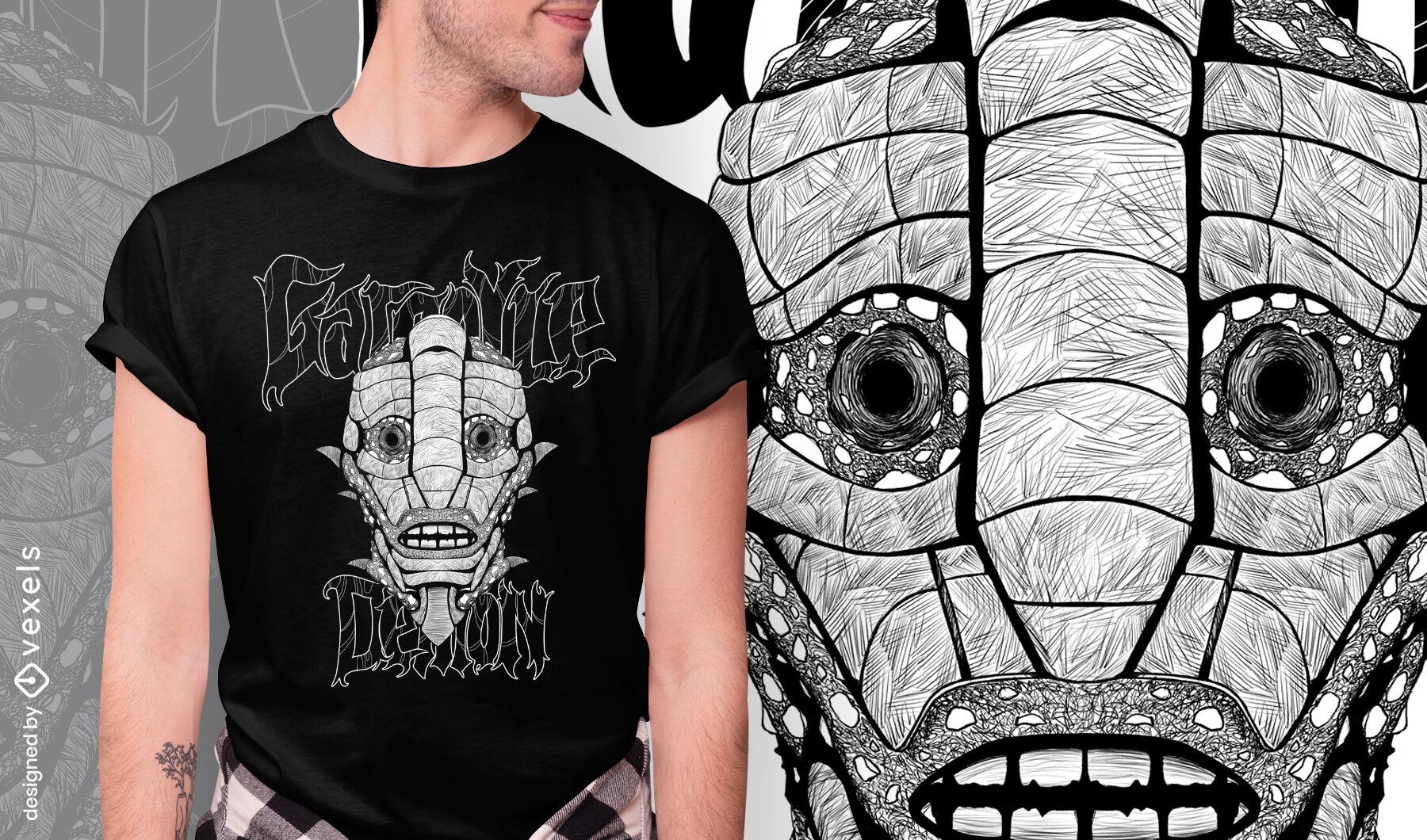 Creepy gargoyle monster hand drawn t-shirt psd
