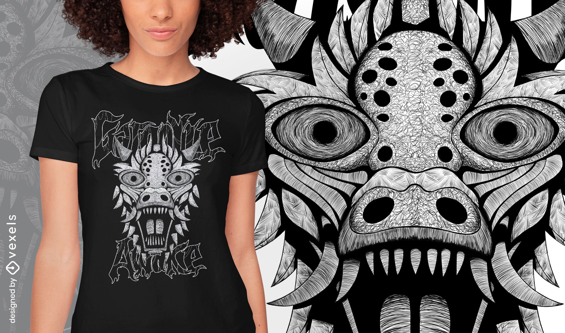 Gargoyle dragon monster hand drawn t-shirt psd