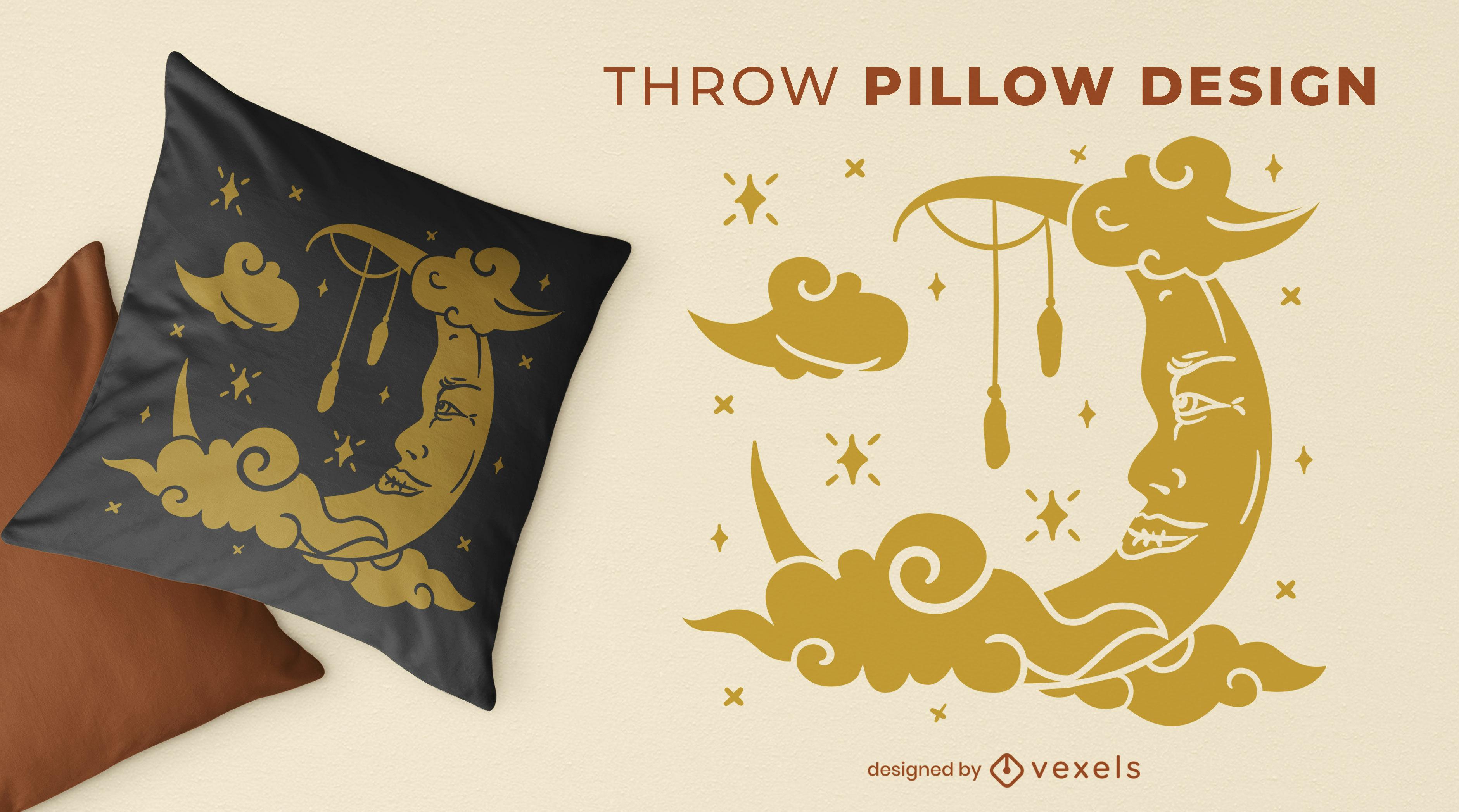 Design de almofada mística para lua e céu noturno
