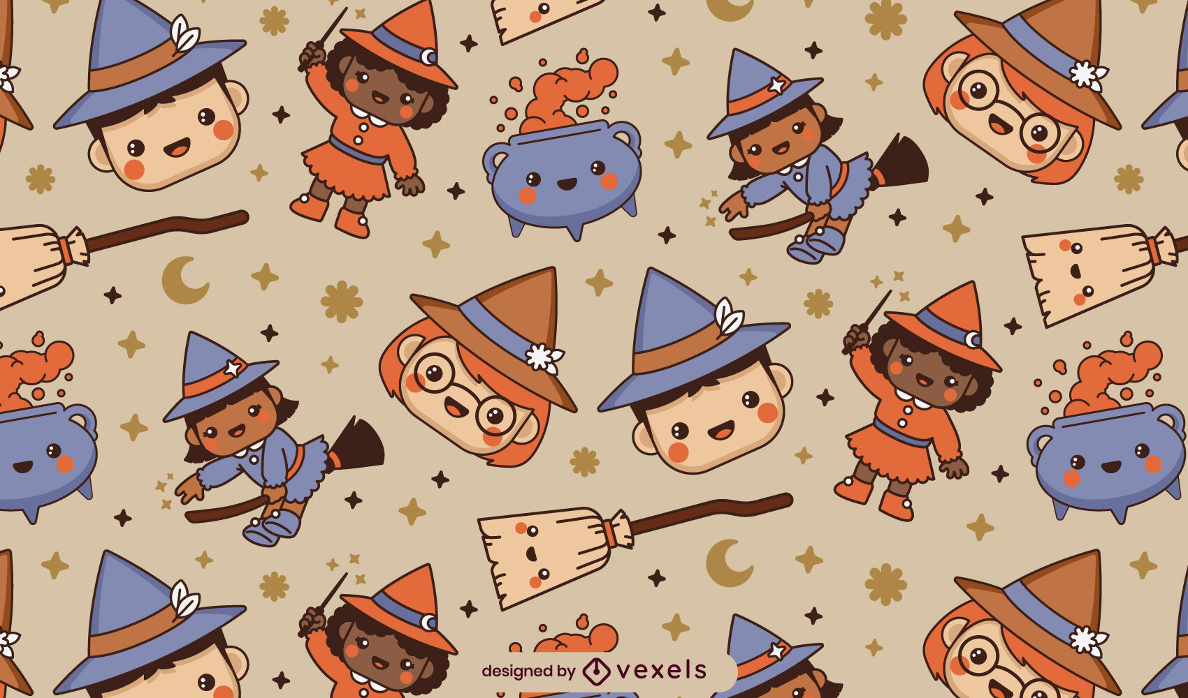 Cute witch character magical pattern design
