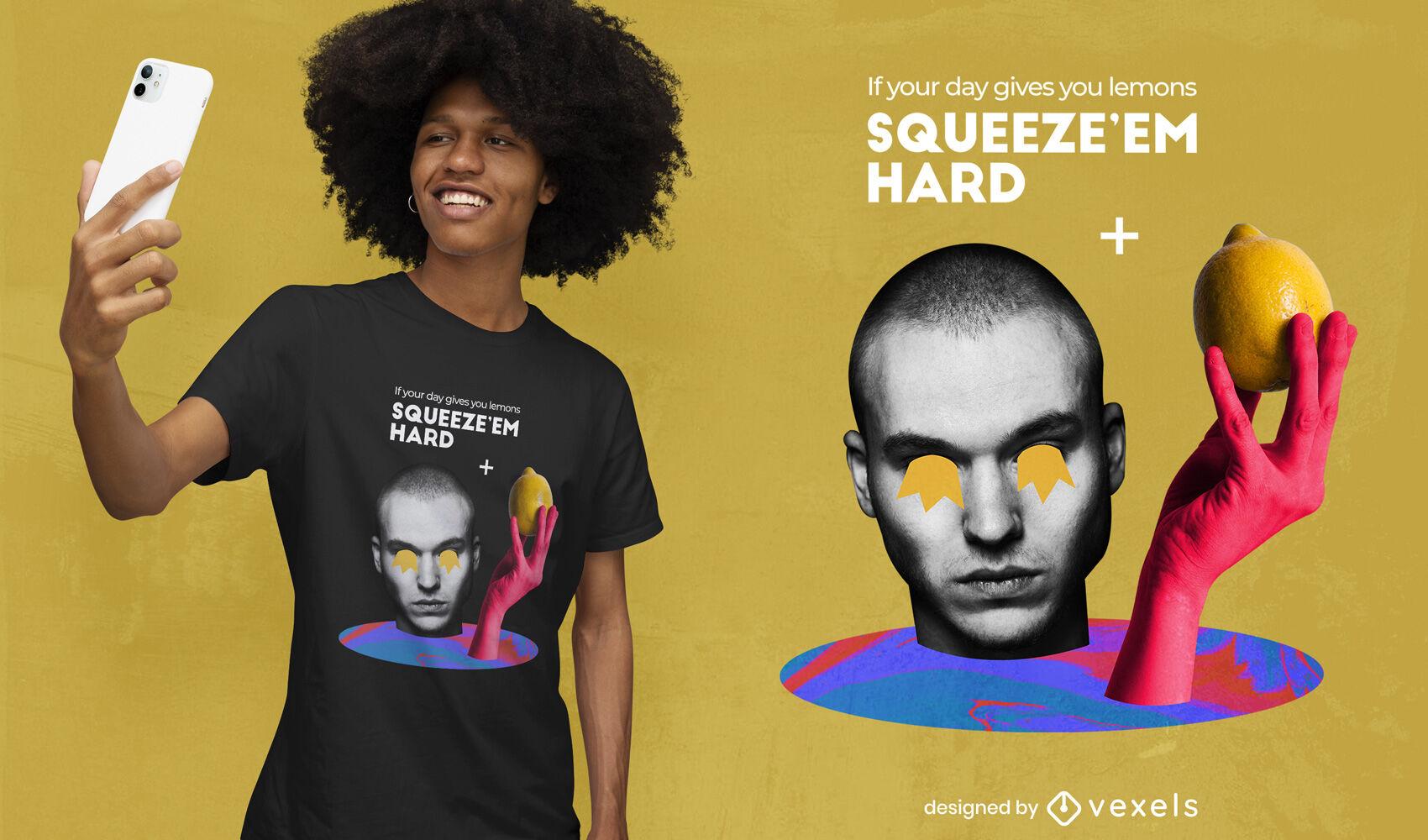 Hombre con camiseta de collage de fruta de limón psd