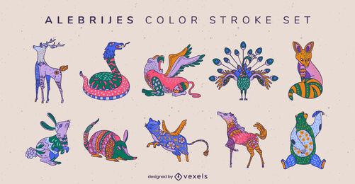 Set de decoración de alebrijes de animales salvajes