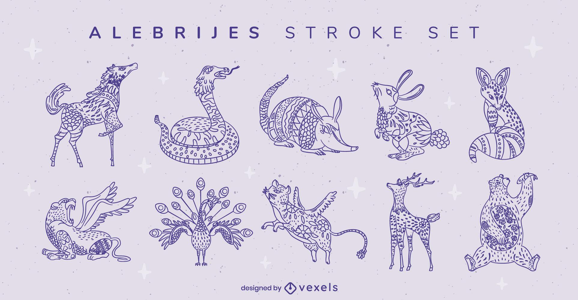 Wild animals alebrijes decoration stroke set