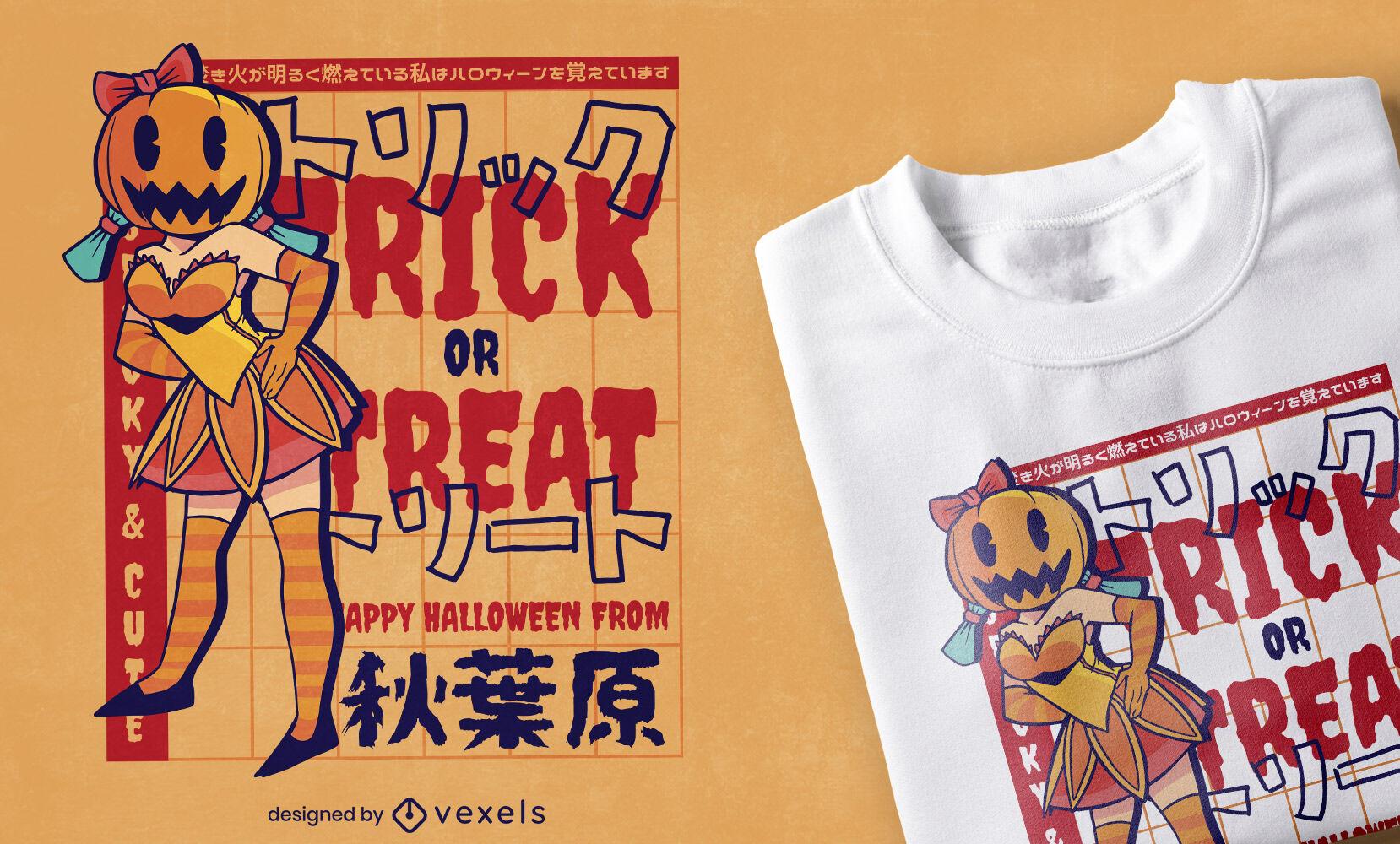 Diseño de camiseta de chica anime de Halloween espeluznante