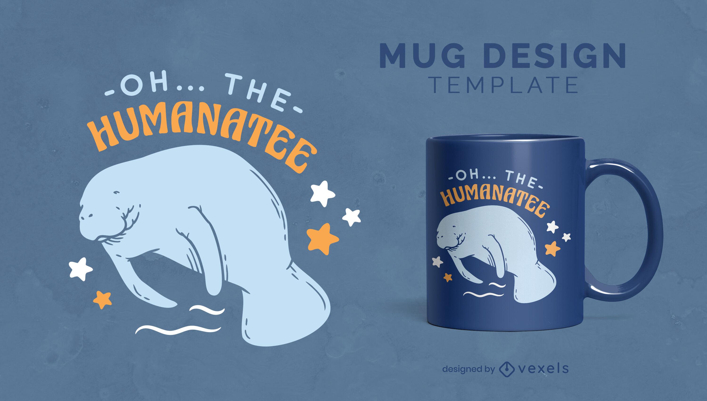 Sad manatee sea animal mug template
