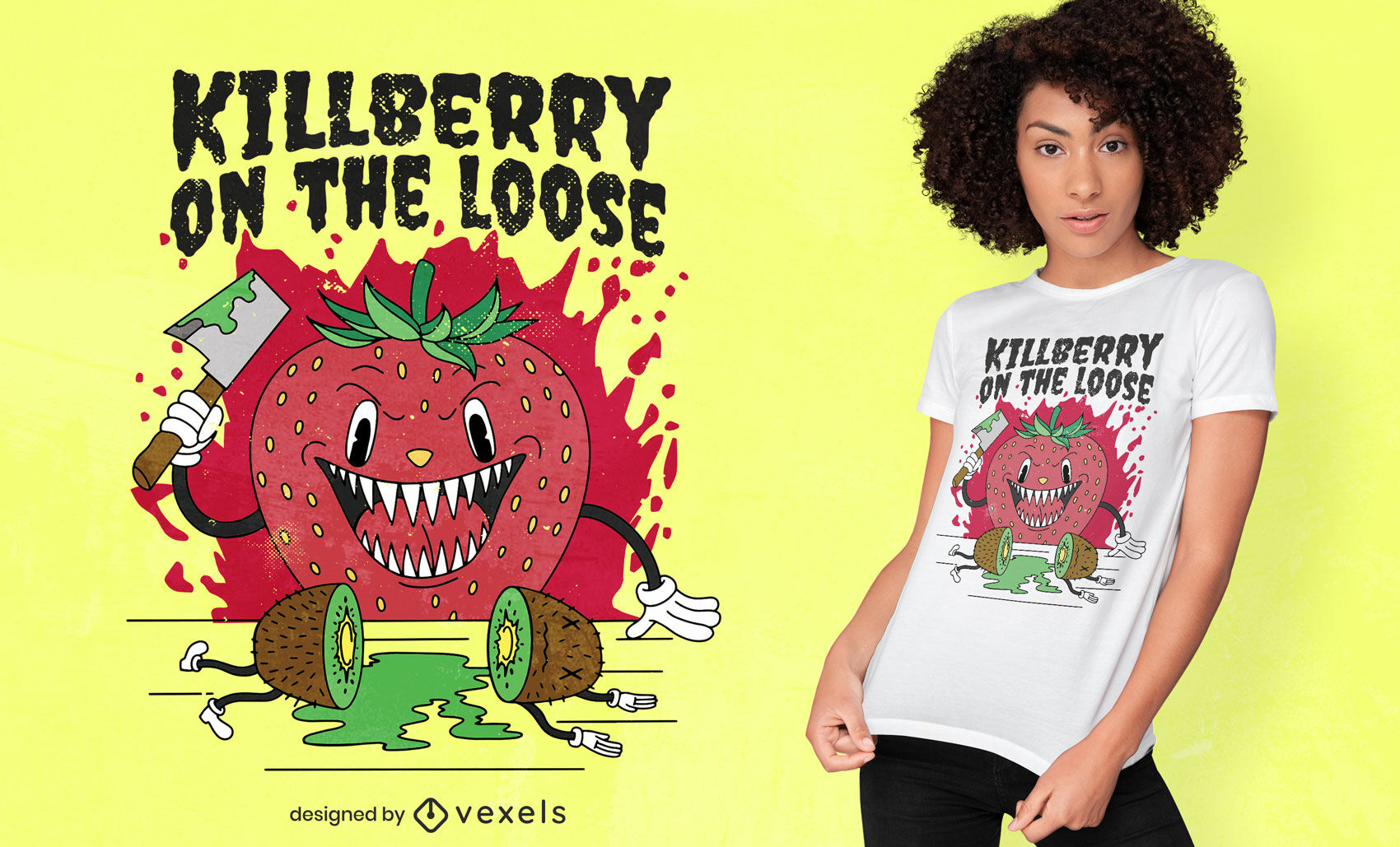 Killer strawberry with kiwi t-shirt design
