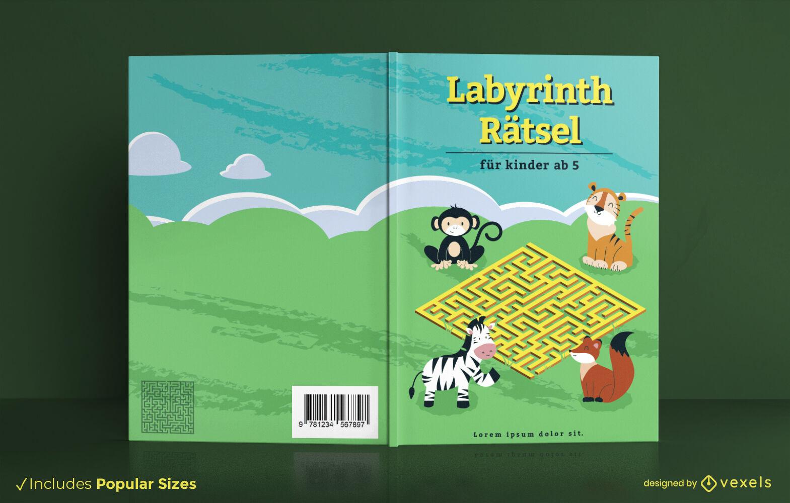 Design da capa do livro de mistério do labirinto