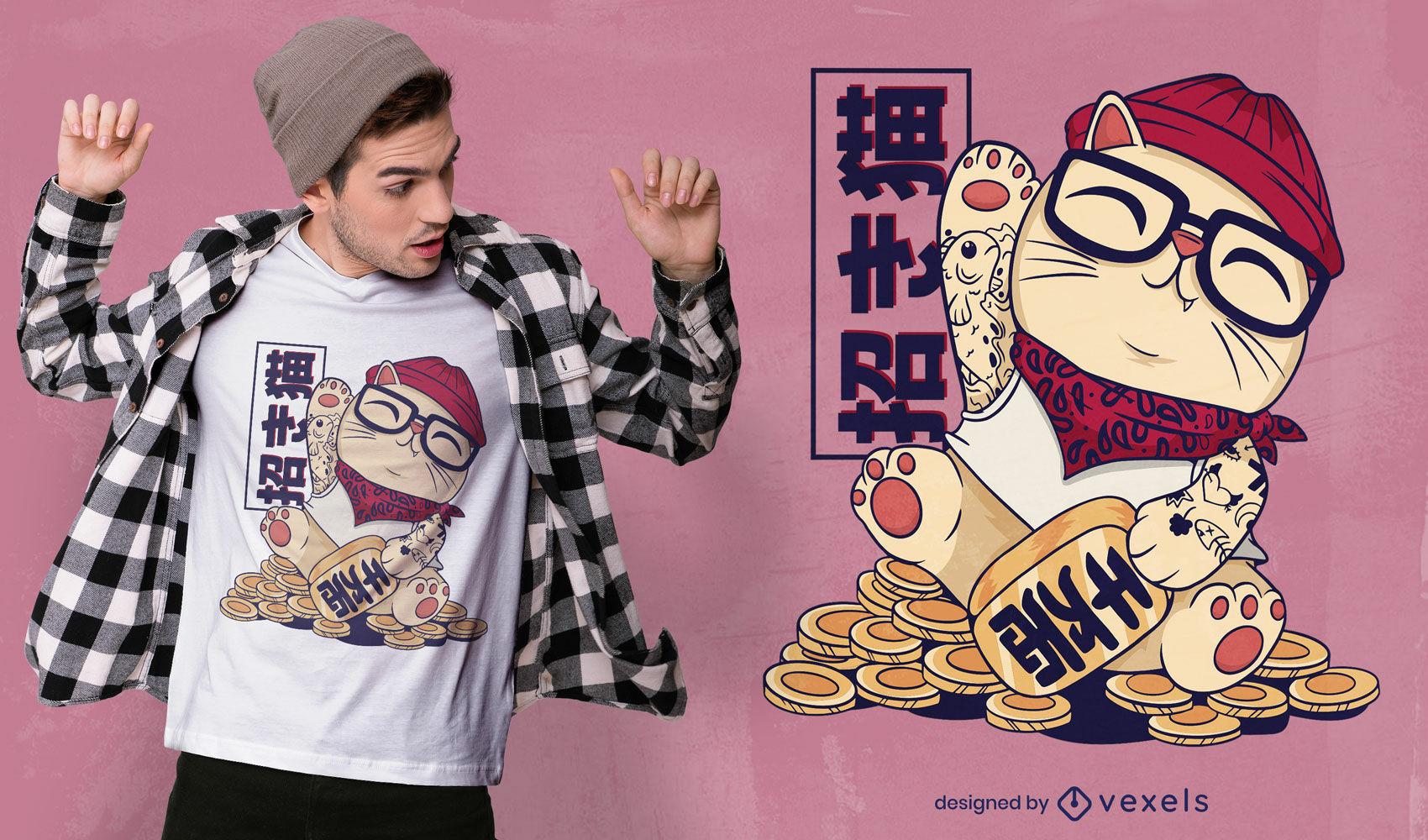 Cooles Maneki Neko T-Shirt Design