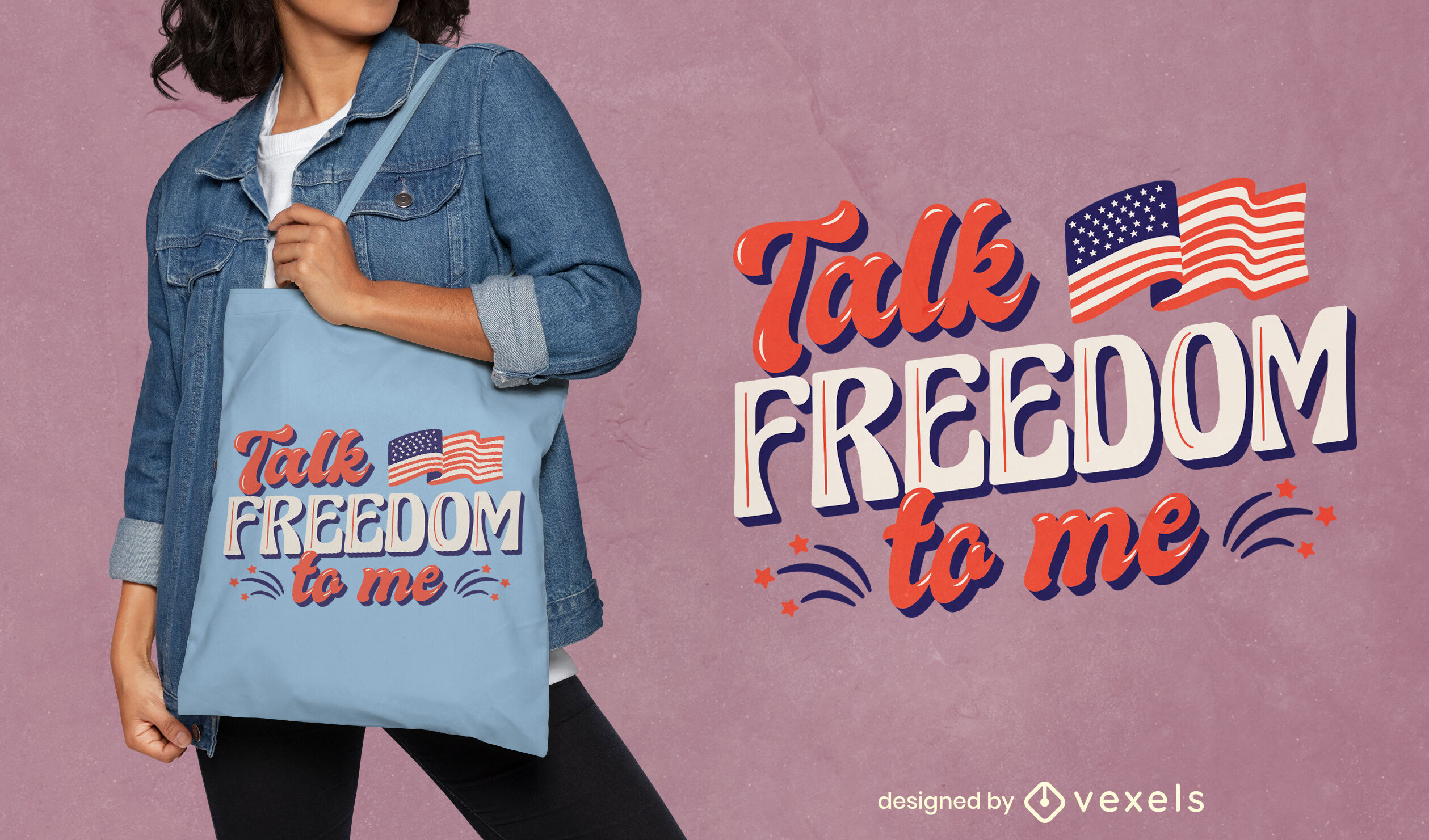Independence day holiday tote bag design
