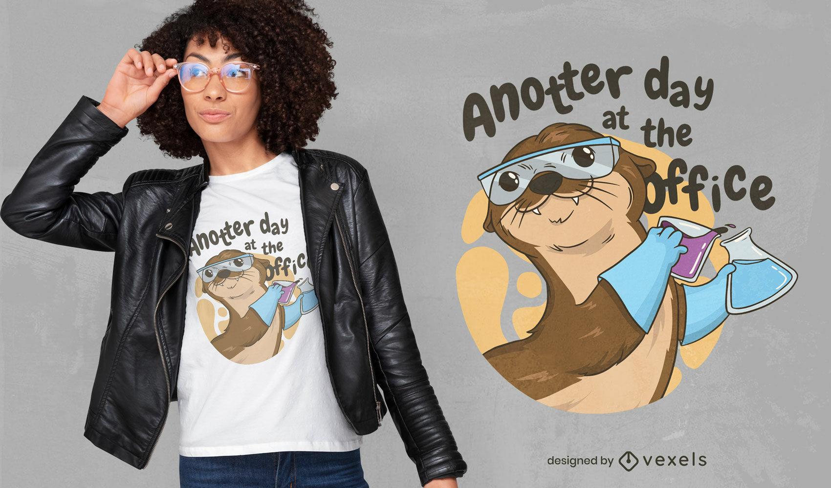 Cute otter animal chemist t-shirt design