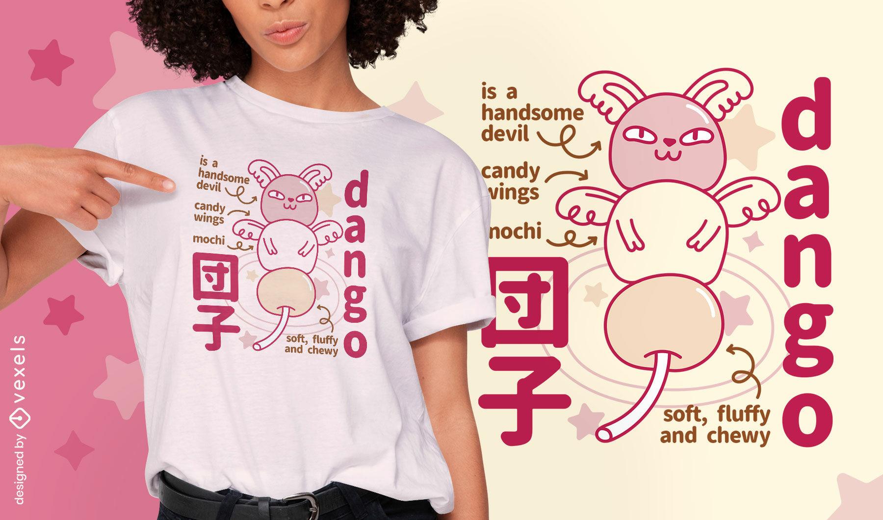 Dise?o de camiseta de monstruo dango japon?s