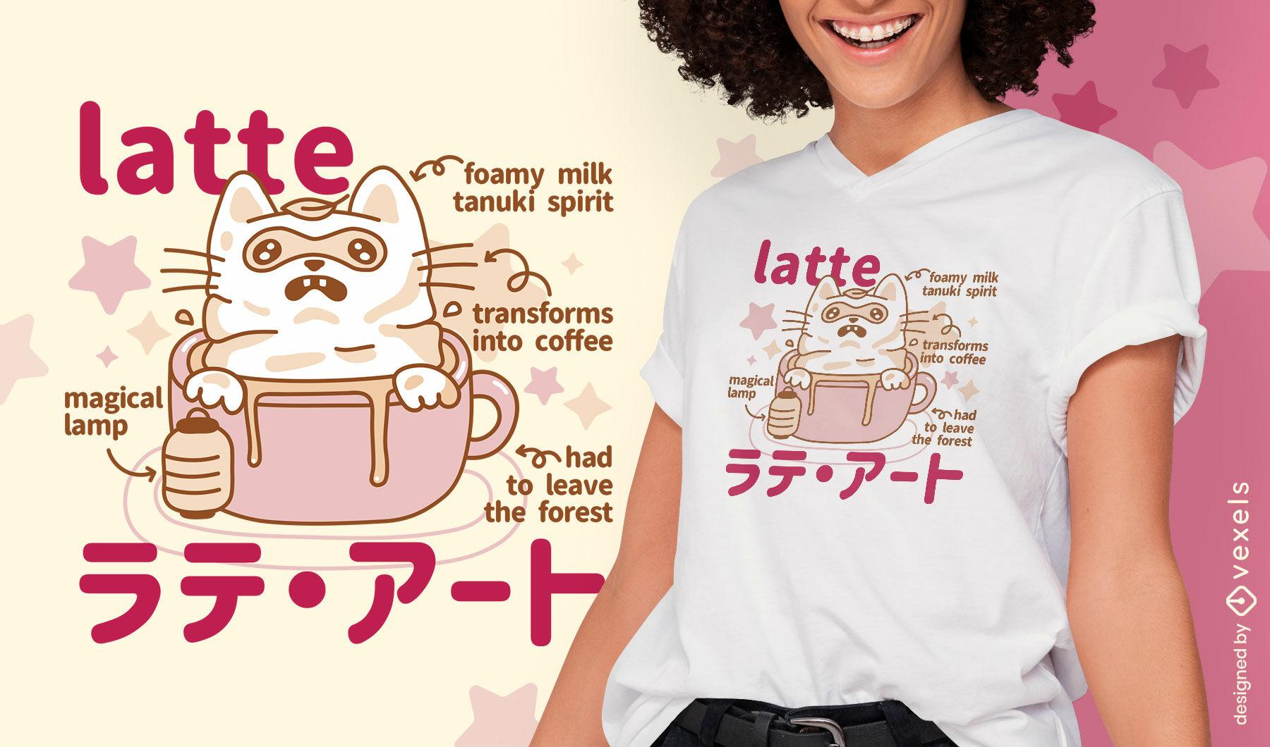 Dise?o de camiseta de monstruo japon?s latte