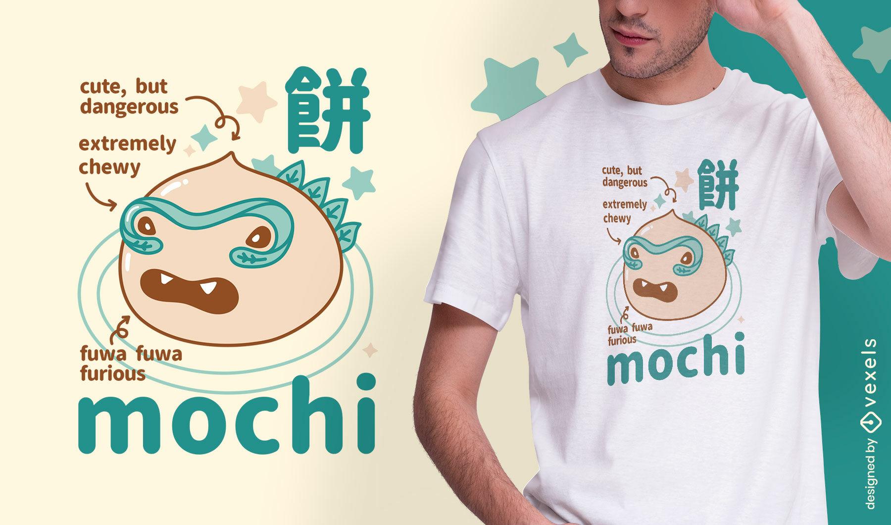 Diseño de camiseta de monstruo de comida japonesa mochi