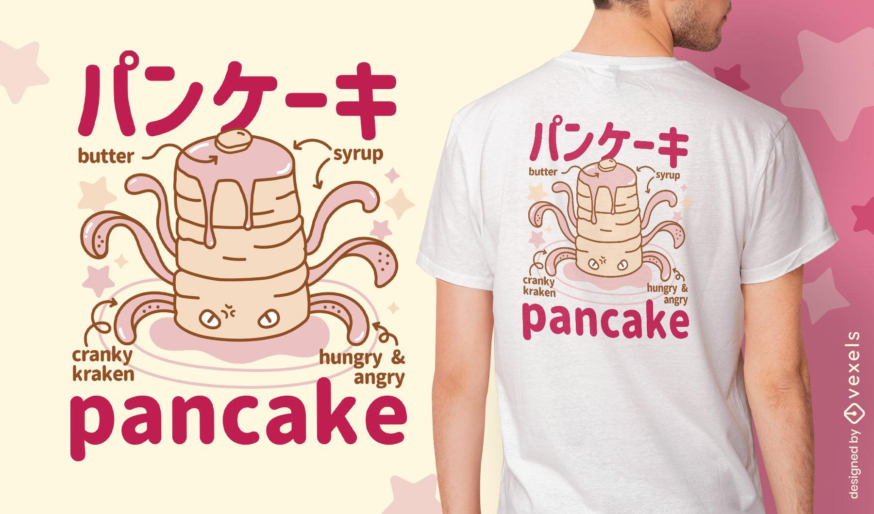 Dise?o de camiseta de monstruo de panqueques esponjosos japoneses