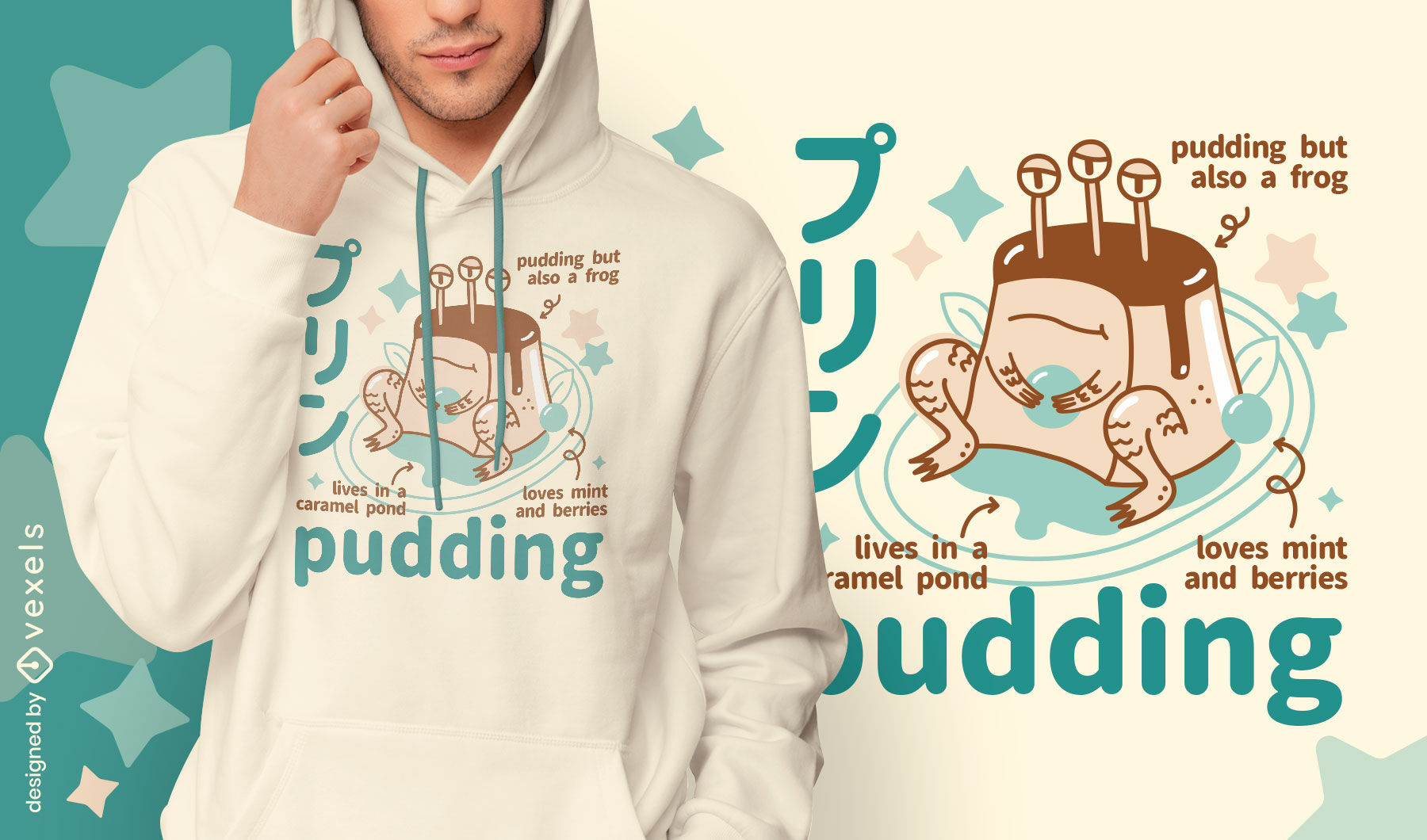 Awesome pudding monster t-shirt design