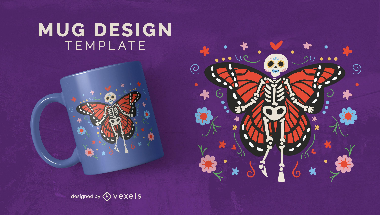 Hermoso diseño de taza de Dia de los muertos