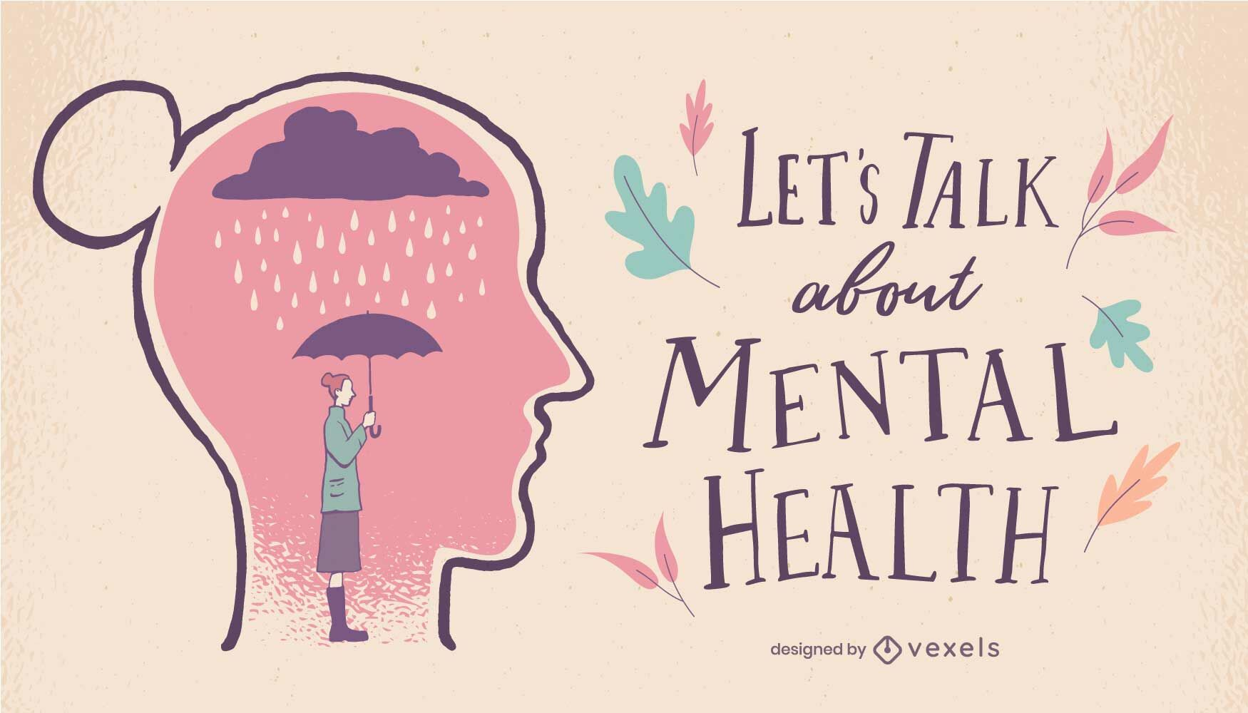 Beautiful mental health letterign design