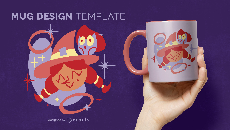 Cute witch Halloween mug design