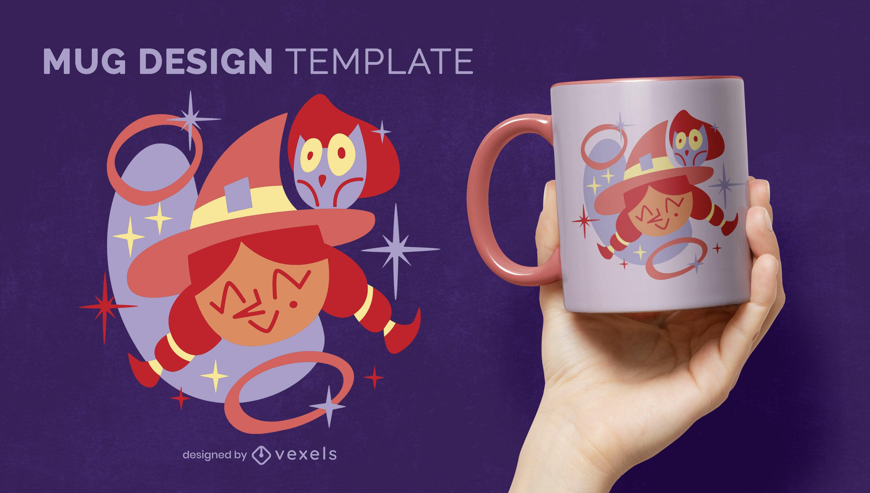 Diseño lindo de la taza de la bruja de Halloween