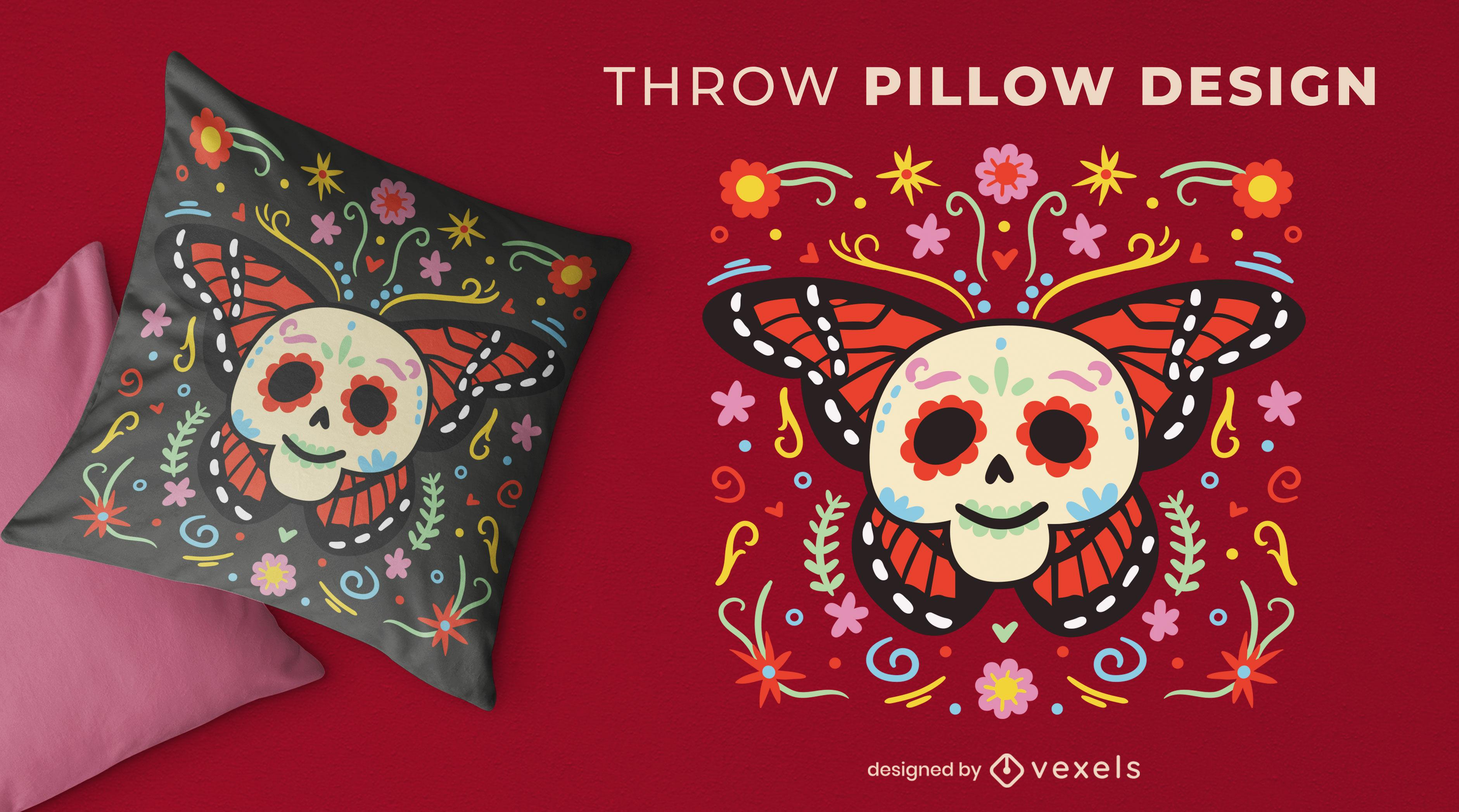 Lindo design de travesseiro decorativo Dia de los muertos