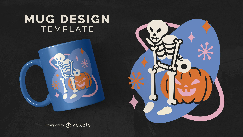 Skeleton and jack o lantern mug design