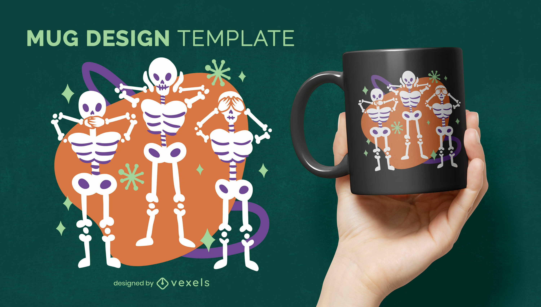Diseño de taza de vacaciones de halloween de esqueletos