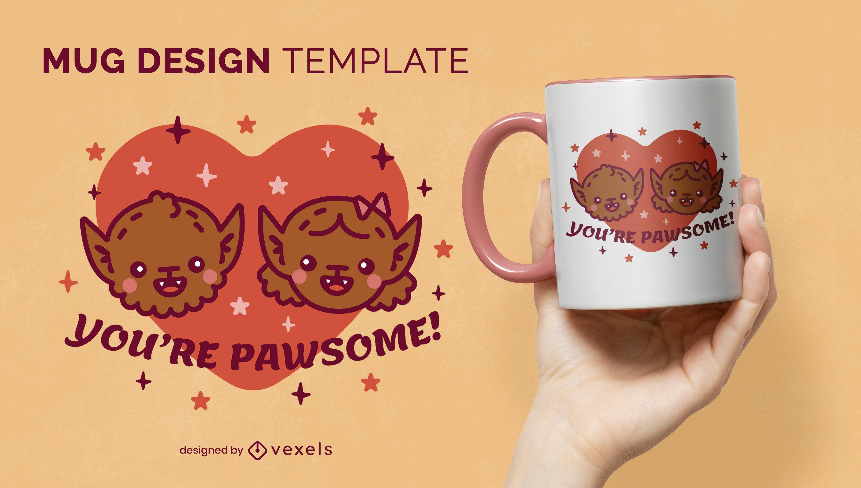 Werewolf couple in love cute mug design