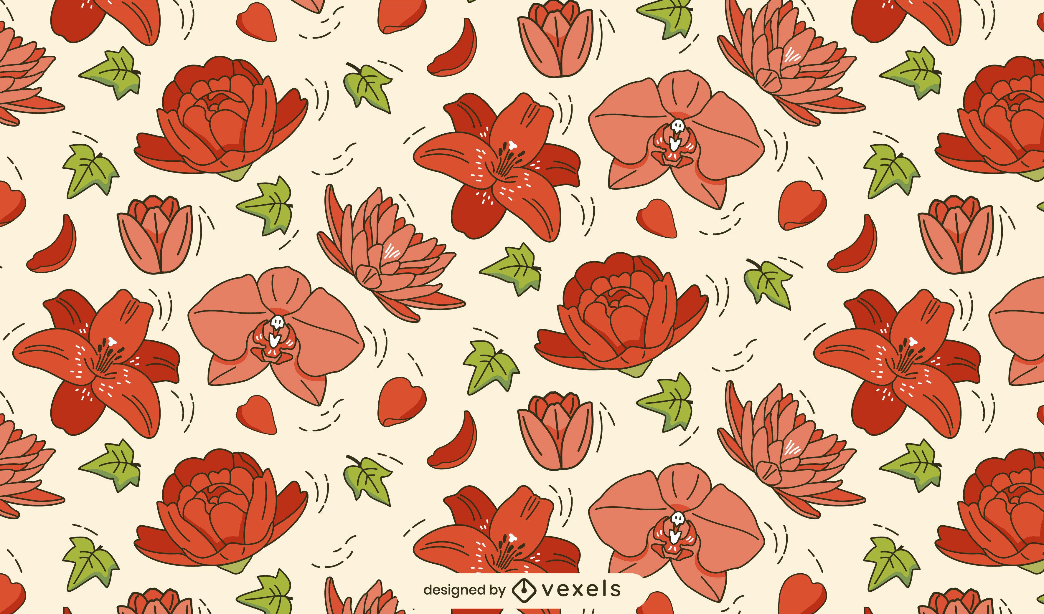 Nenúfares flores naturaleza patrón diseño